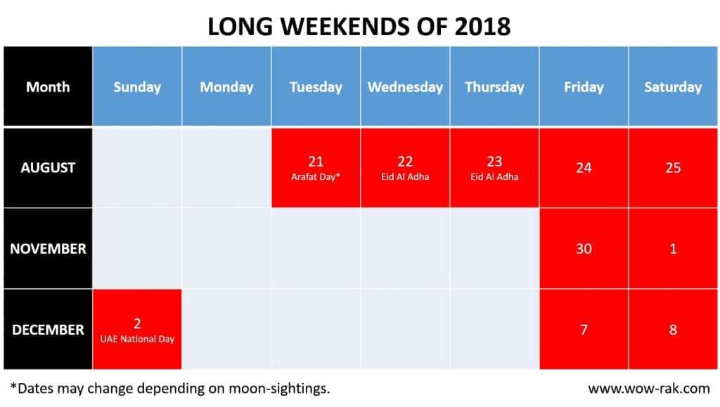 Long Weekend 2018 UAE