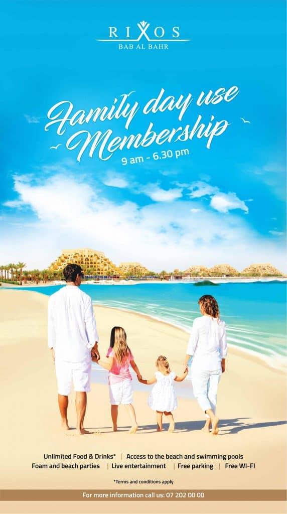 Family day membership Rixos BAB Ras Al Khaimah