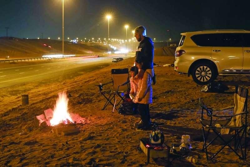 Camping along Sheikh Mohammed Bin Zayed Road