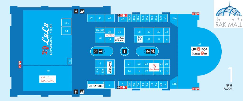 Floor Plan for 1st floor of RAK Mall Ras Al Khaimah