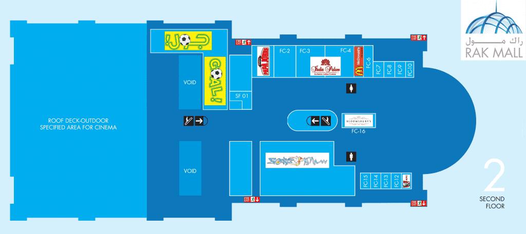 Floor Plan for 2nd floor of RAK Mall Ras Al Khaimah
