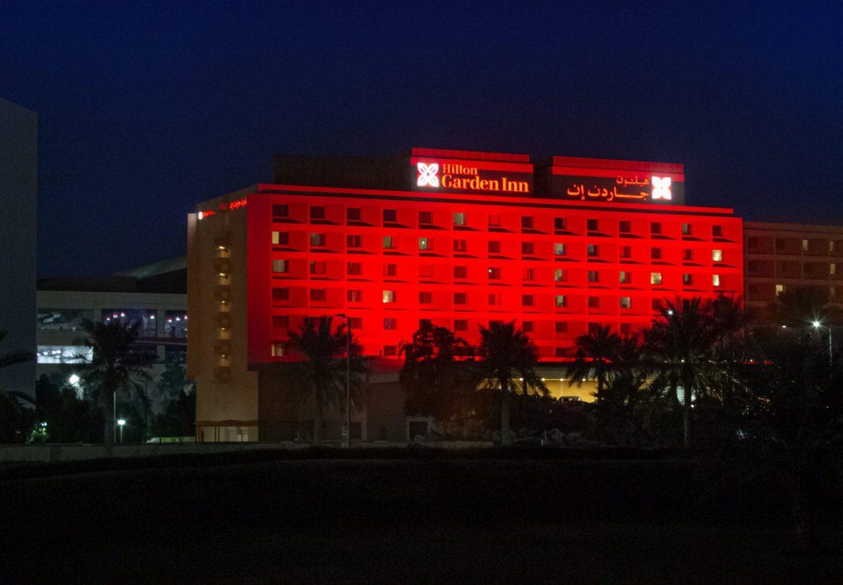 Hilton garden inn ras al khaimah lights up red ahead of the uae's historic arrival to mars