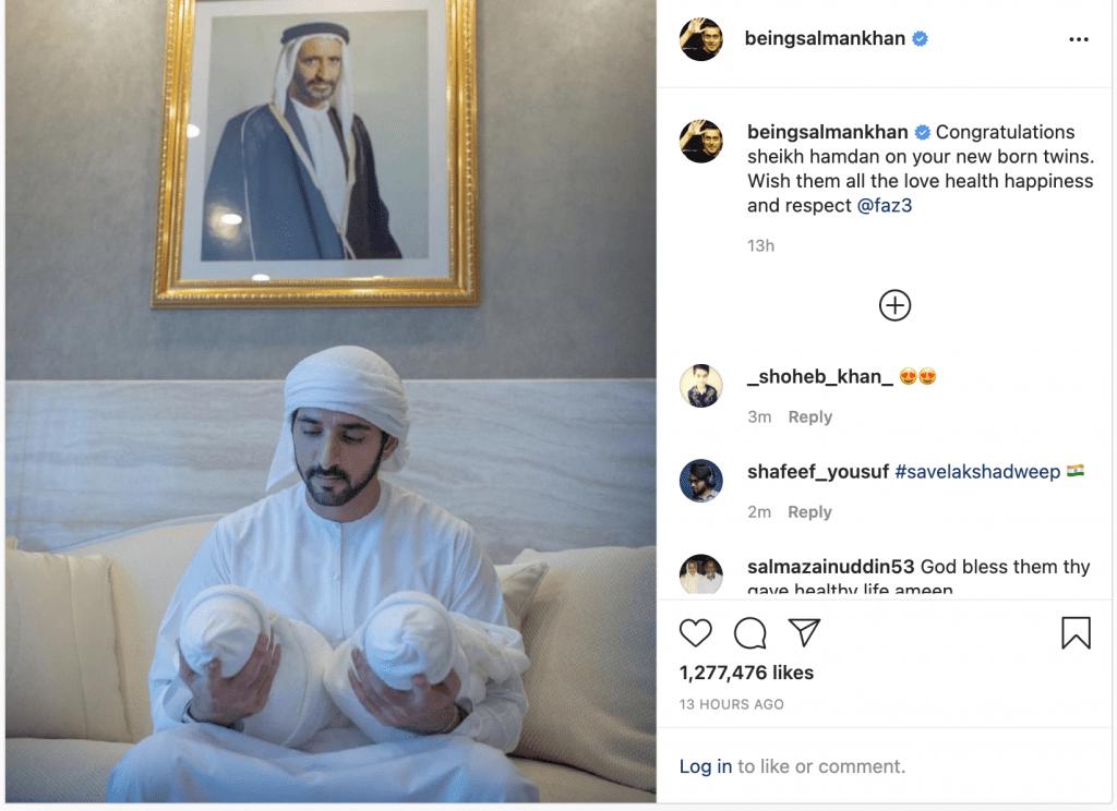 Bollywood Superstar Salman Khan Congratulates Dubai's Crown Prince Sheikh Hamdan